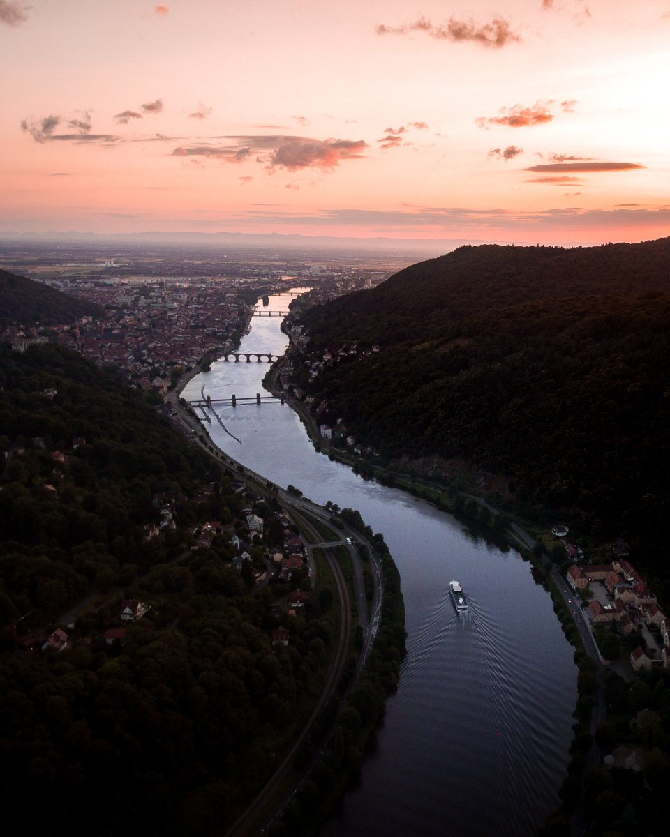 Heidelberg neckar river sunset