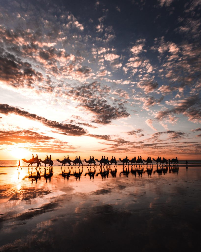 cable beach camels sunset
